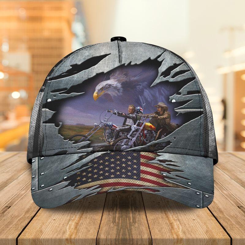 Motorcycle eagle usa flag classic cap