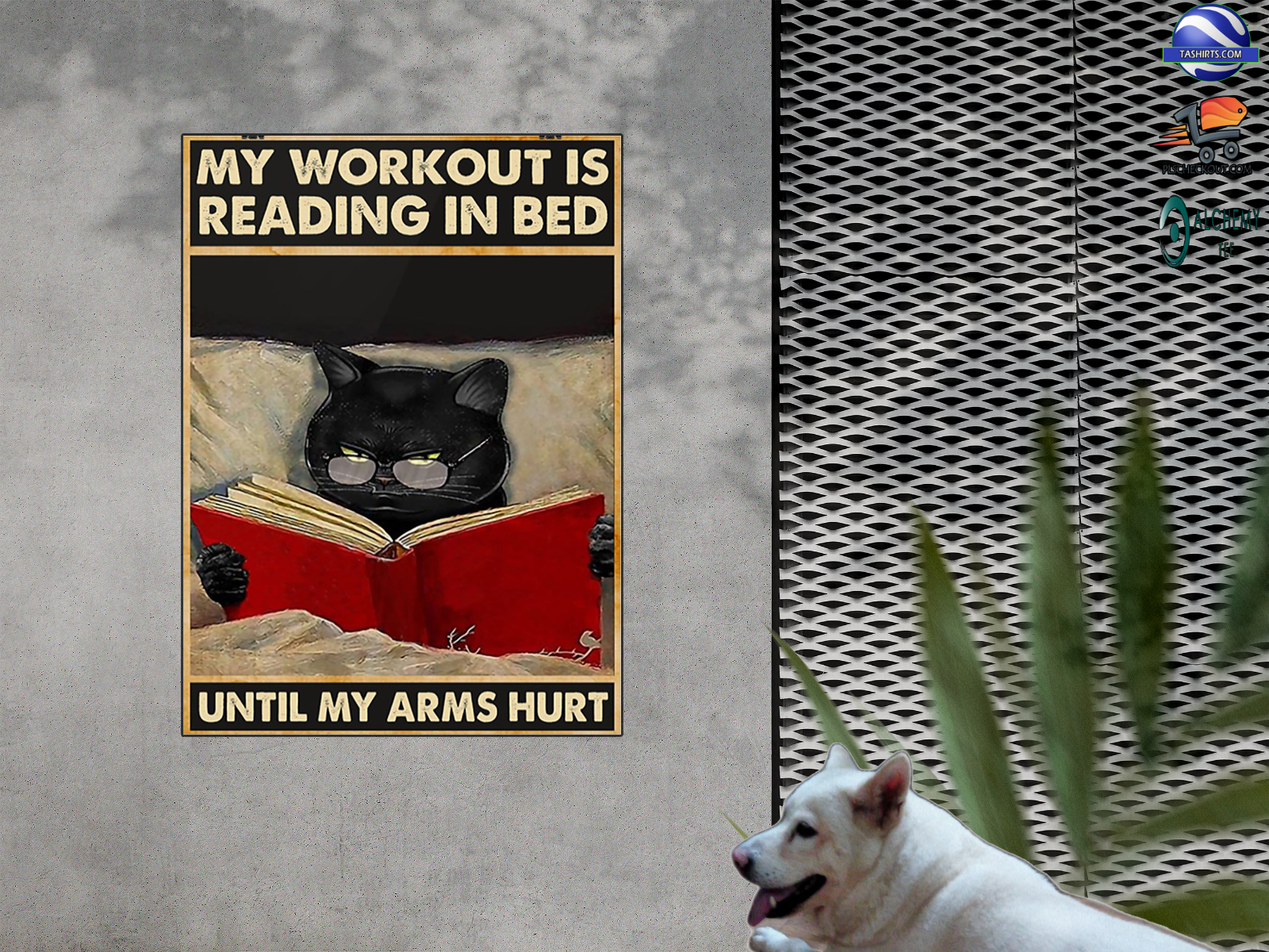 Black cat my workout is reading in bed until my arms hurt poster