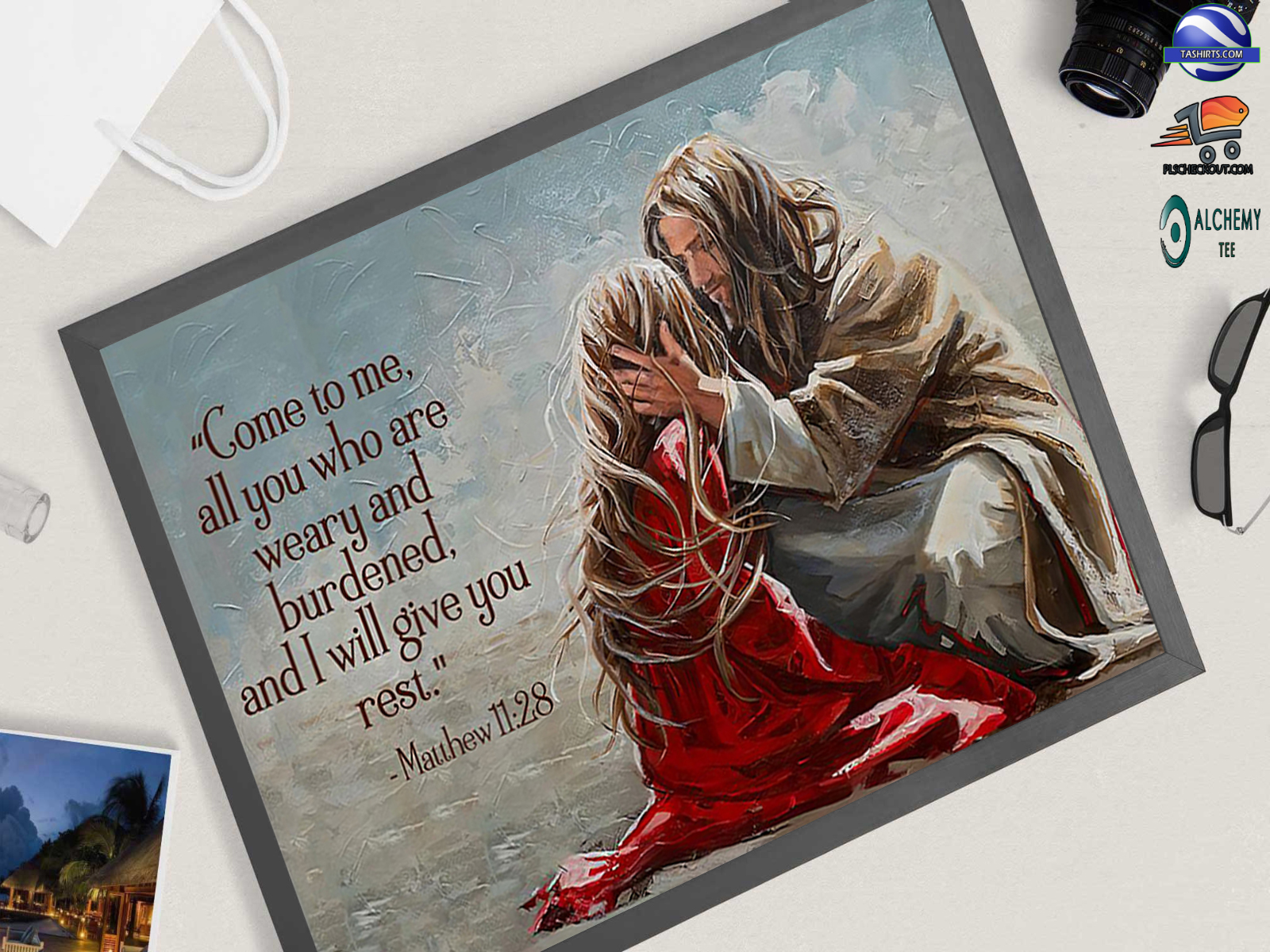 Jesus Christ I will give you rest poster