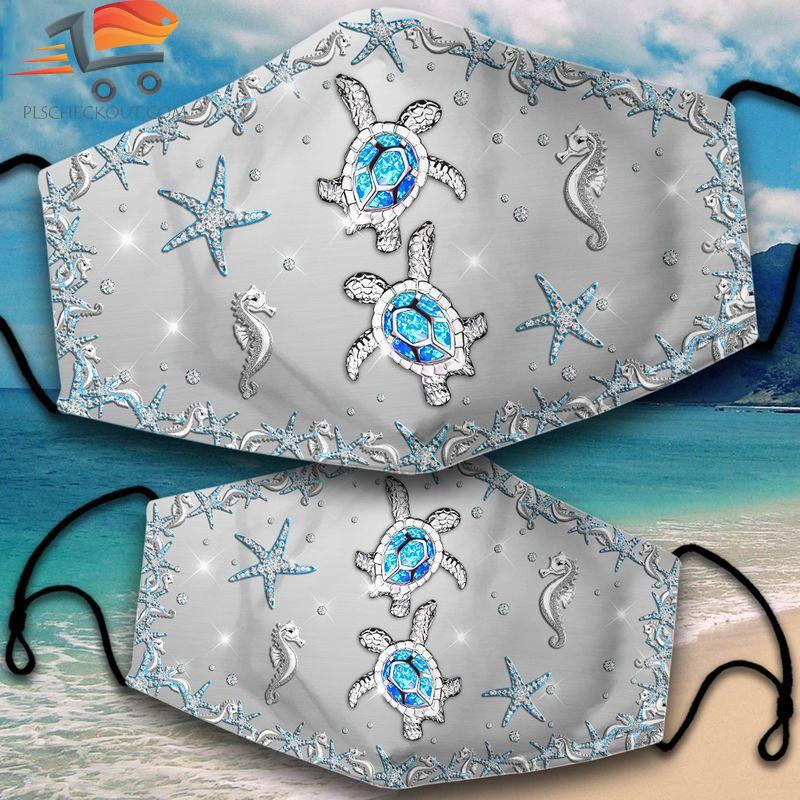 Diamond beach turtle seahorse starfish face mask