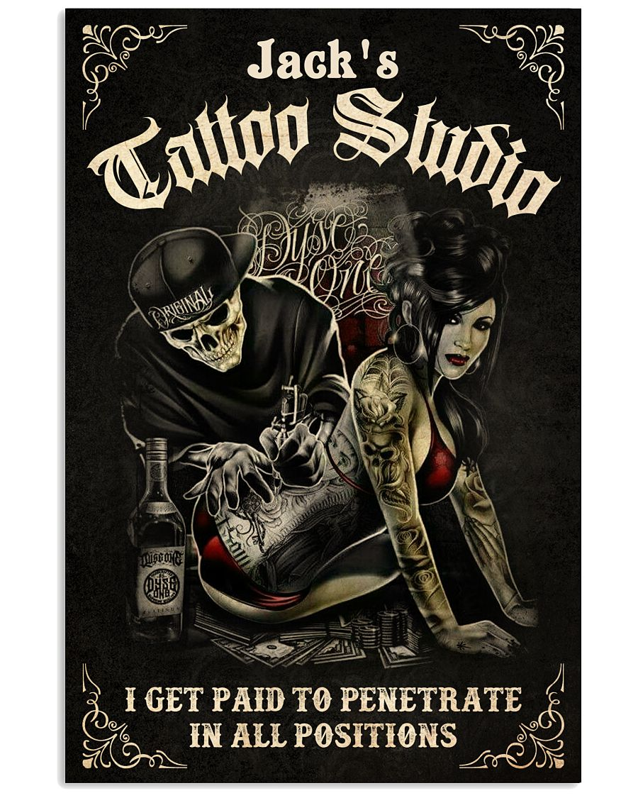 Personalized Tattoo couple Tattoo studio i get paid to penetrate in all positions poster