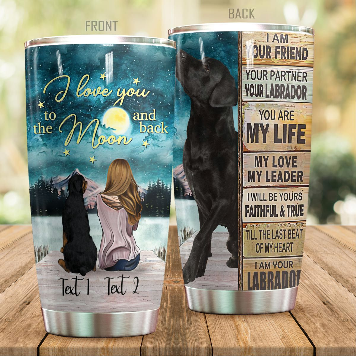 Personalized Labrador I Love You To The Moon And Back Steel Tumbler