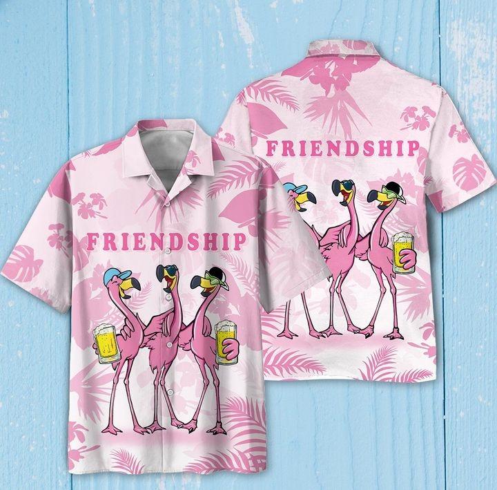 Friendship Flamingos Aloha Hawaiian Shirt And Short