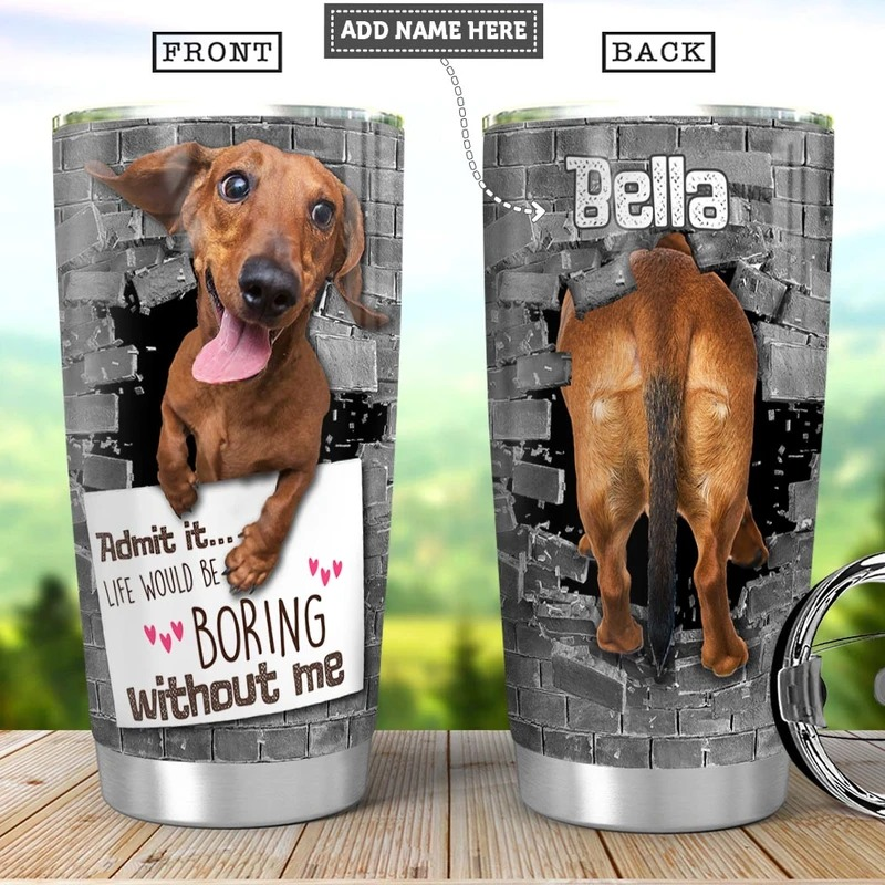 Dachshund admit it life would be boring without me personalized steel tumbler