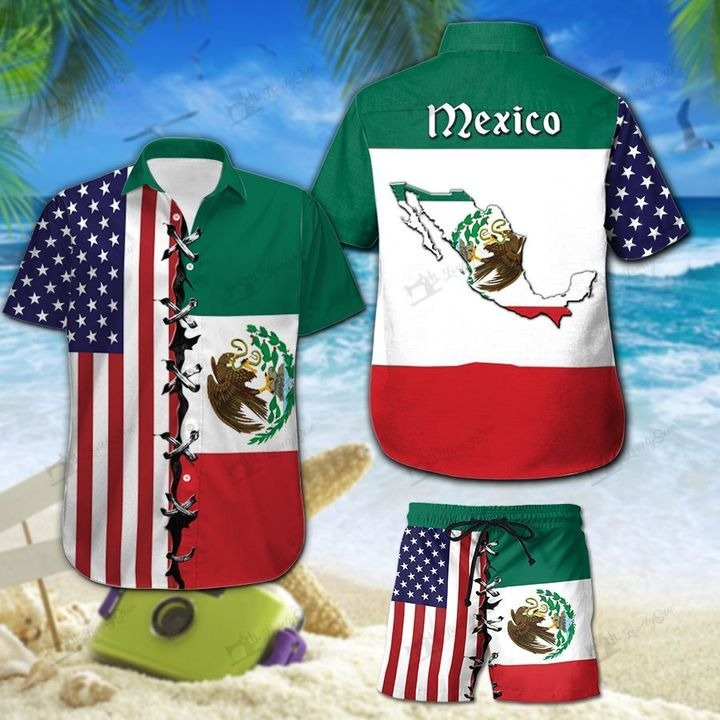 America And Mexico Flag Hawaiian Shirt And Short