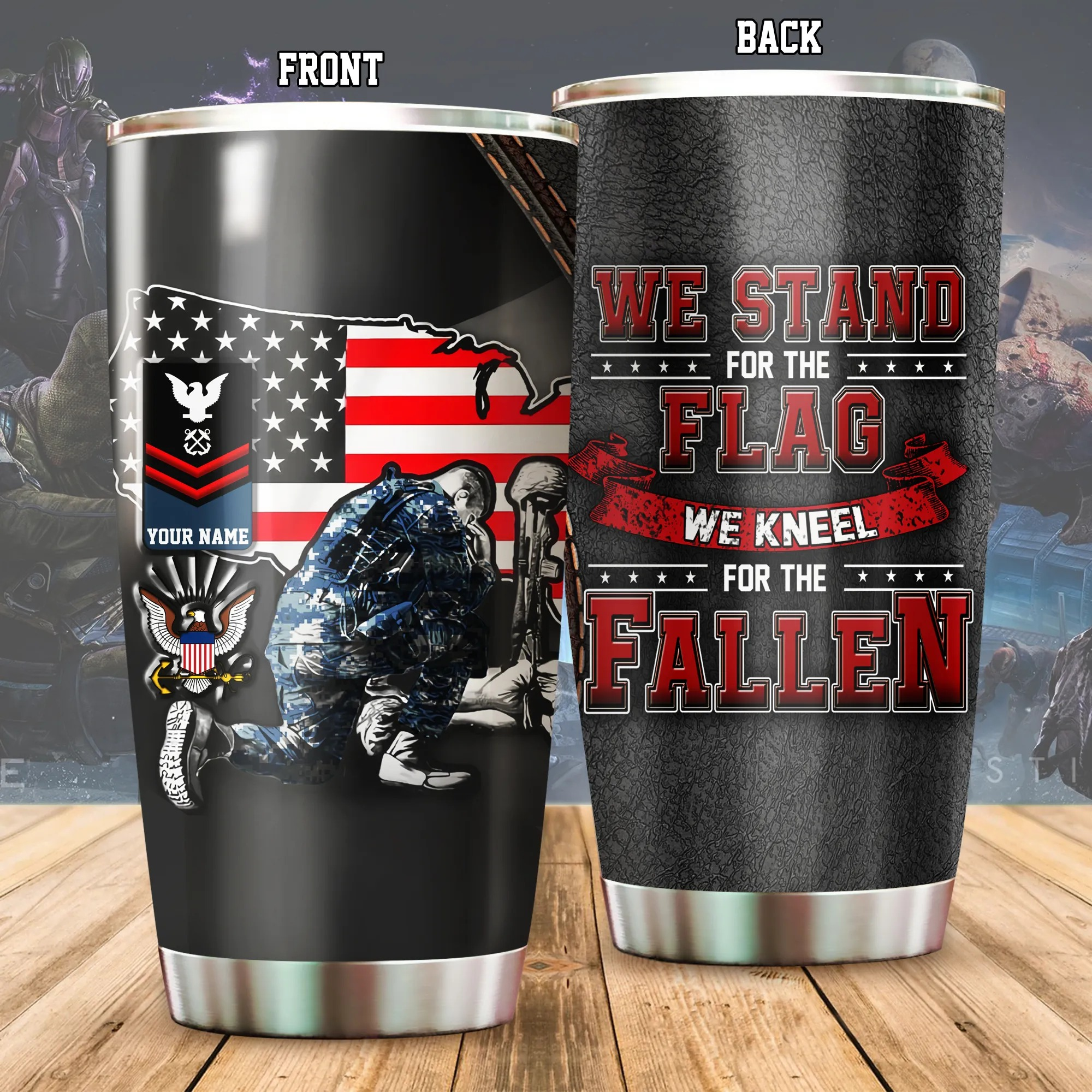 US Navy We Stand For The Flag Kneel For The Fallen Personalized Tumbler