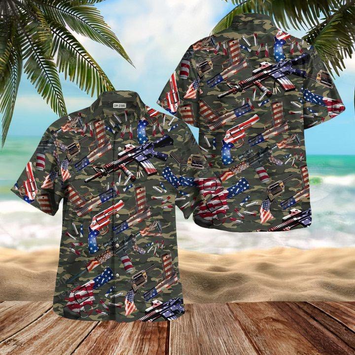 Camouflage gun USA pattern hawaiian shirt