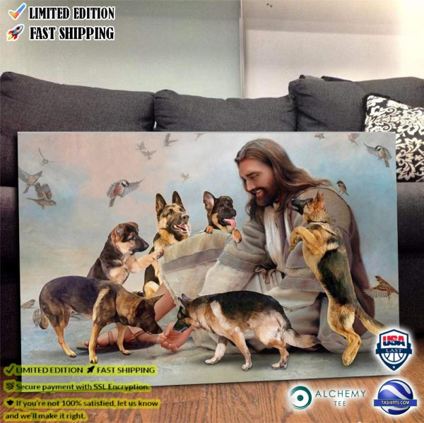God surrounded by German Shepherd angels poster