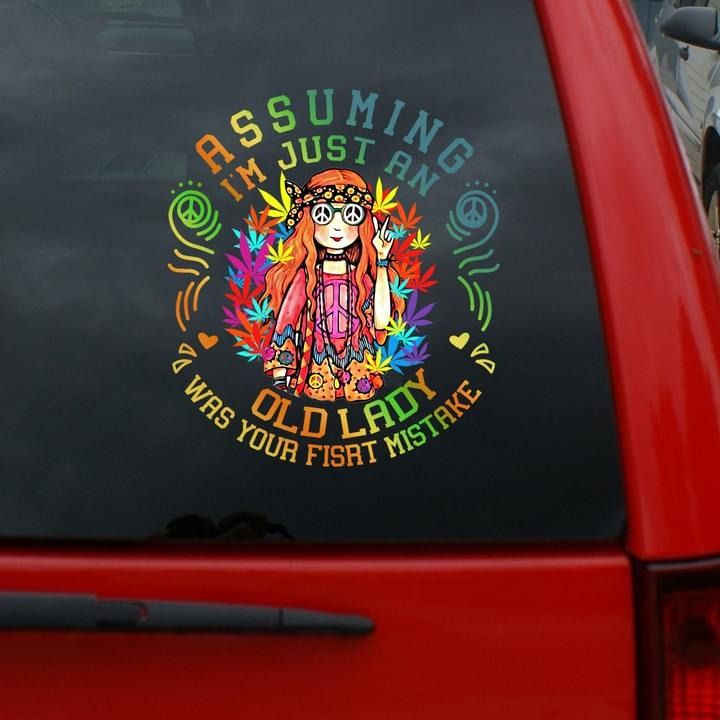 I'm just an old lady hippie girl car decal vinyl