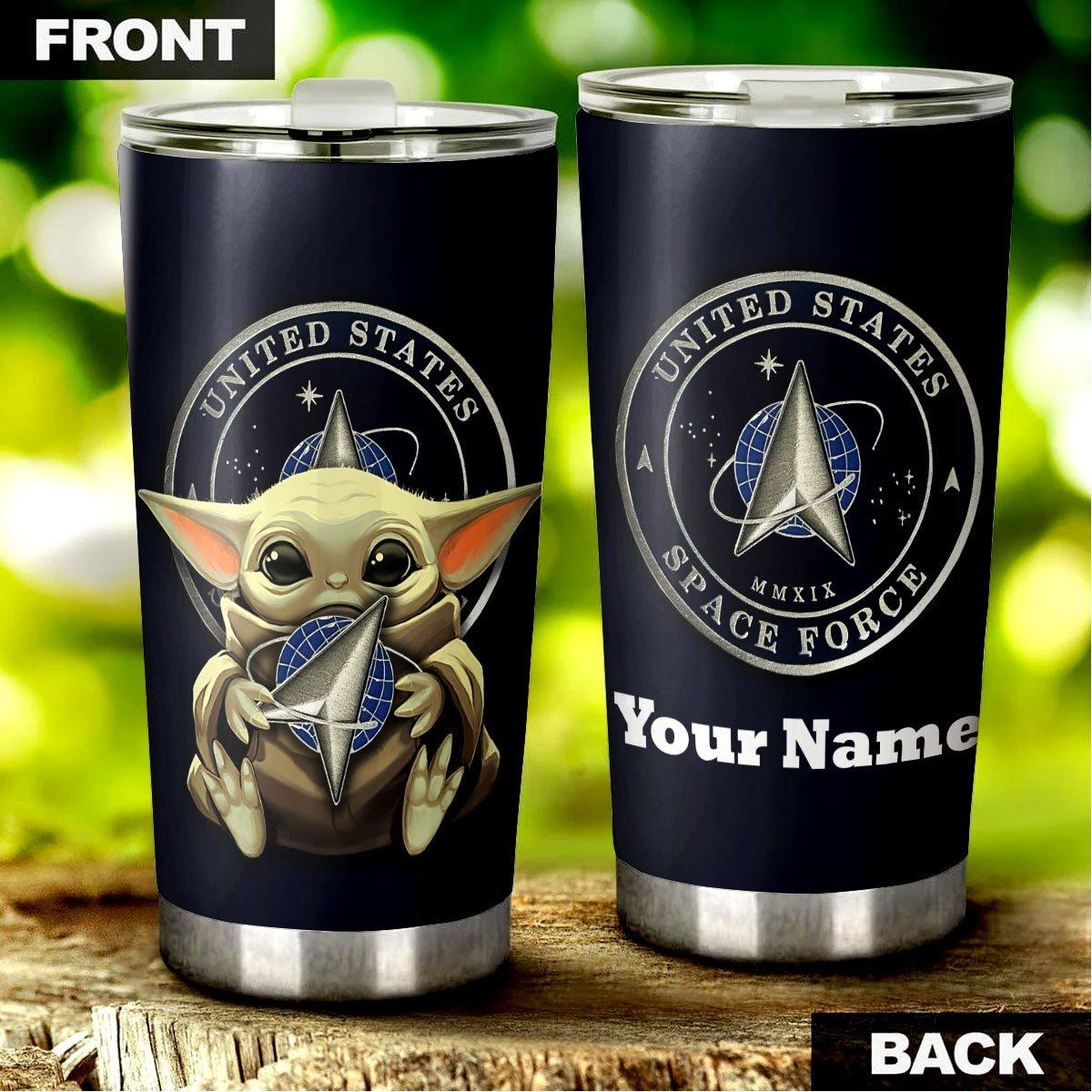 Baby Yoda US Space Force Custom Name Steel Tumbler