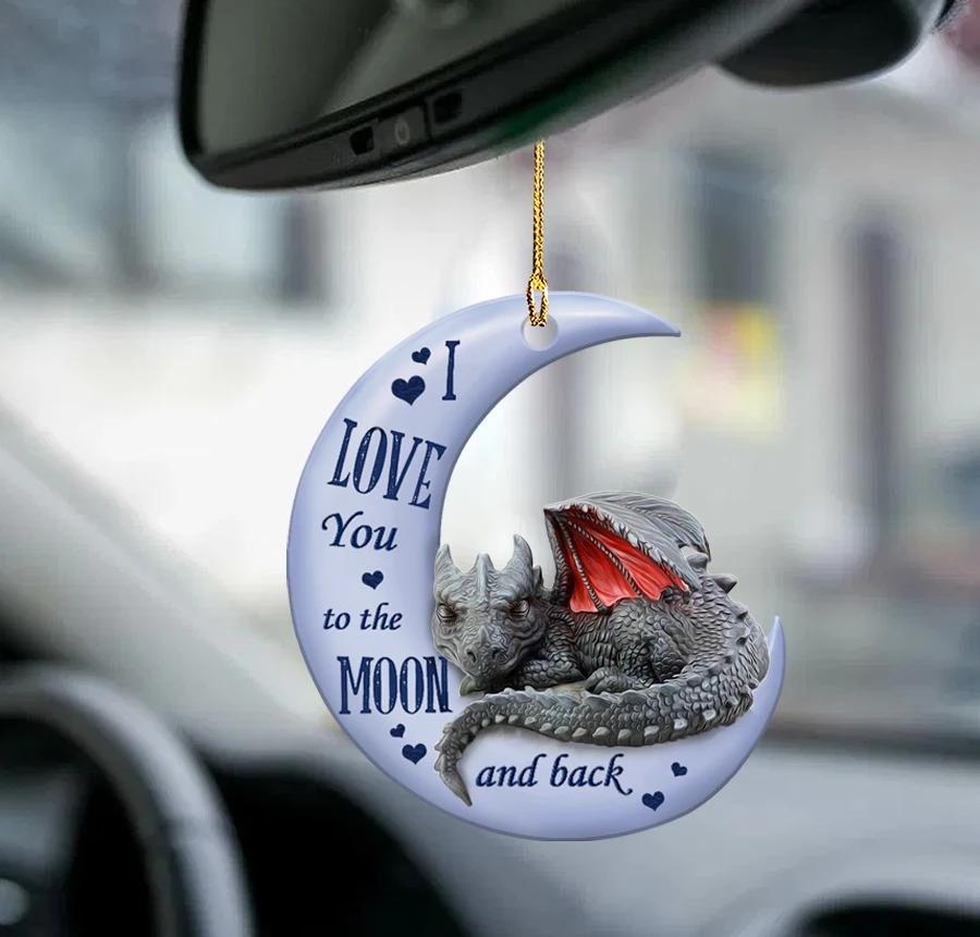 Dragon moon back dragon lover car hanging ornament