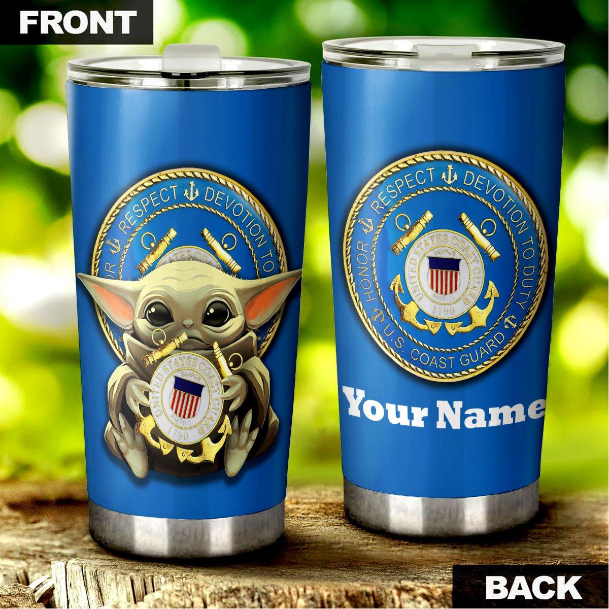 Baby Yoda US Coast Guard Custom Name Steel Tumbler
