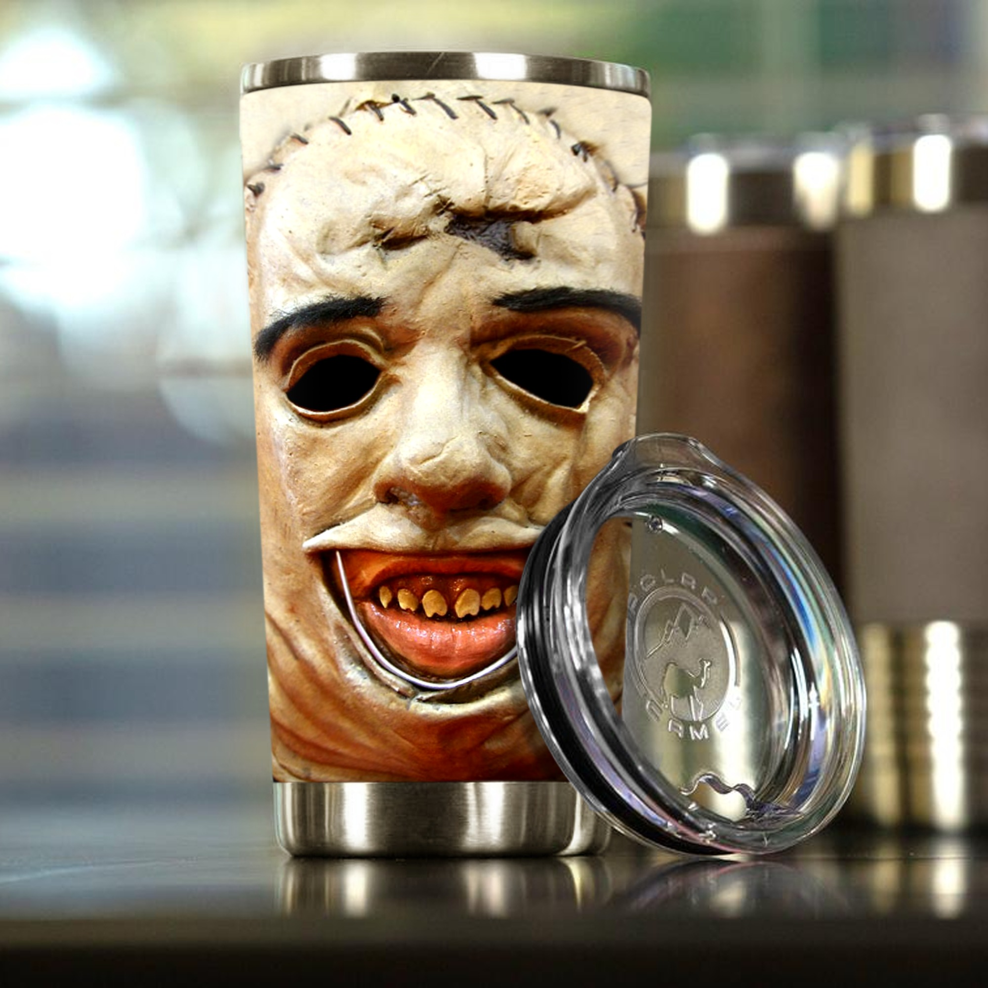 Leatherface Texas Chainsaw Face Steel Tumbler