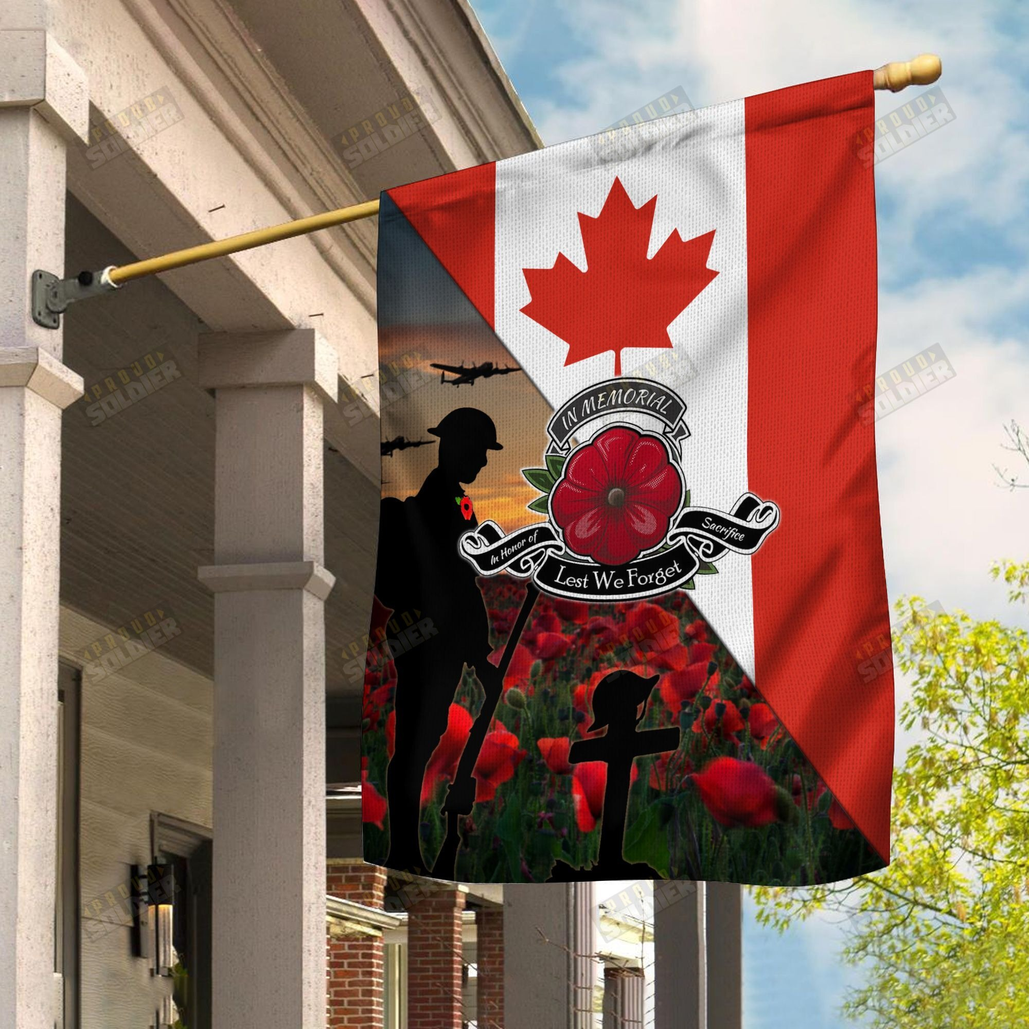Canada veterans lest we forget outdoor flag