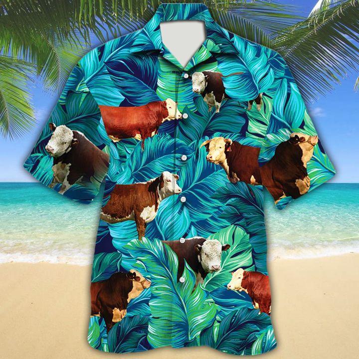 Hereford cattle lover tropical hawaiian shirt