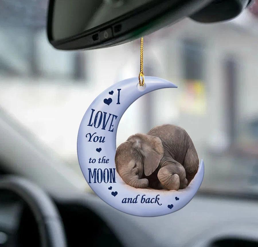 Elephant moon back dragon lover car hanging ornament