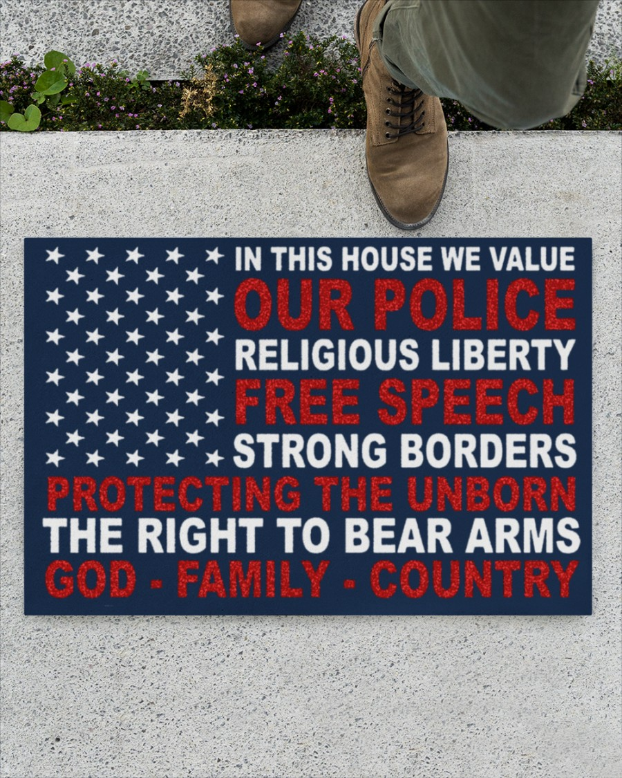 In this house we value our police religious liberty doormat