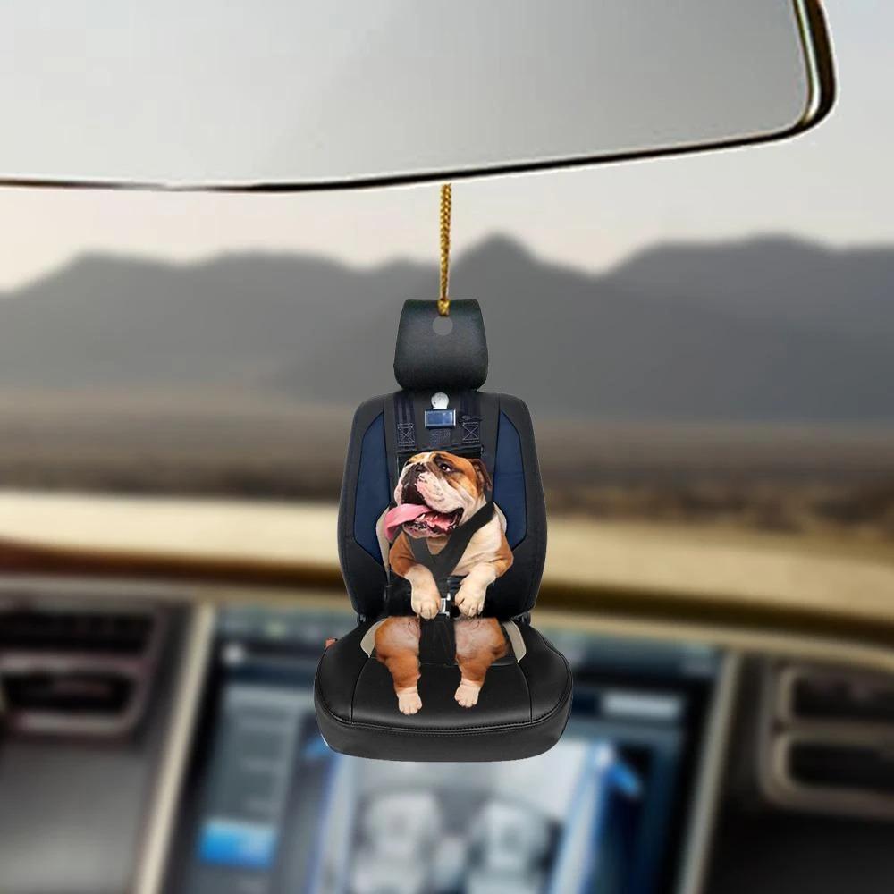Bulldog car seat bulldog lovers dog moms ornament