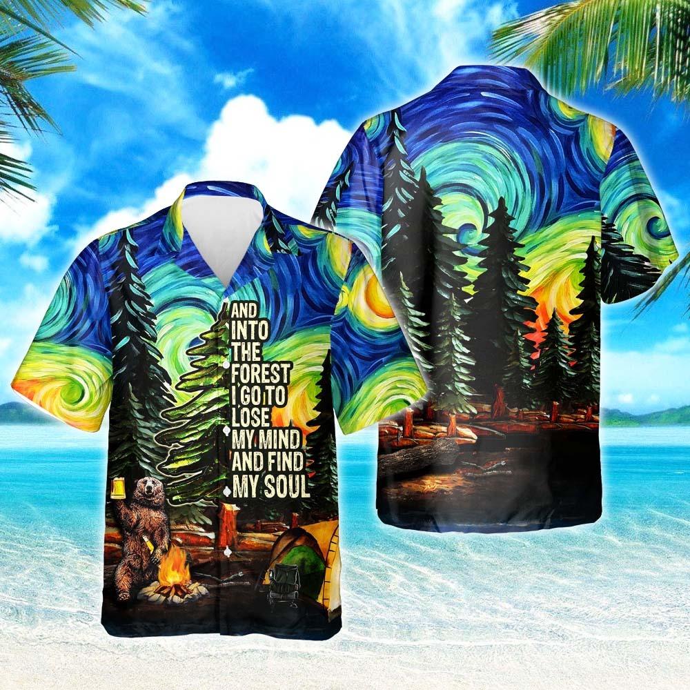 Camping starry night short sleeve hawaiian shirt