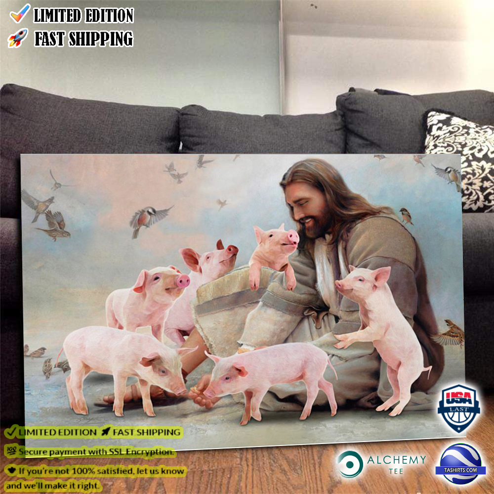 God surrounded by Pig angels poster