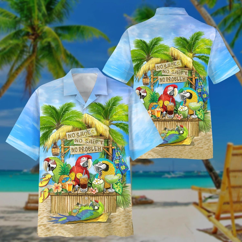Parrot No Shoes No Shirt No Problem Hawaiian Set