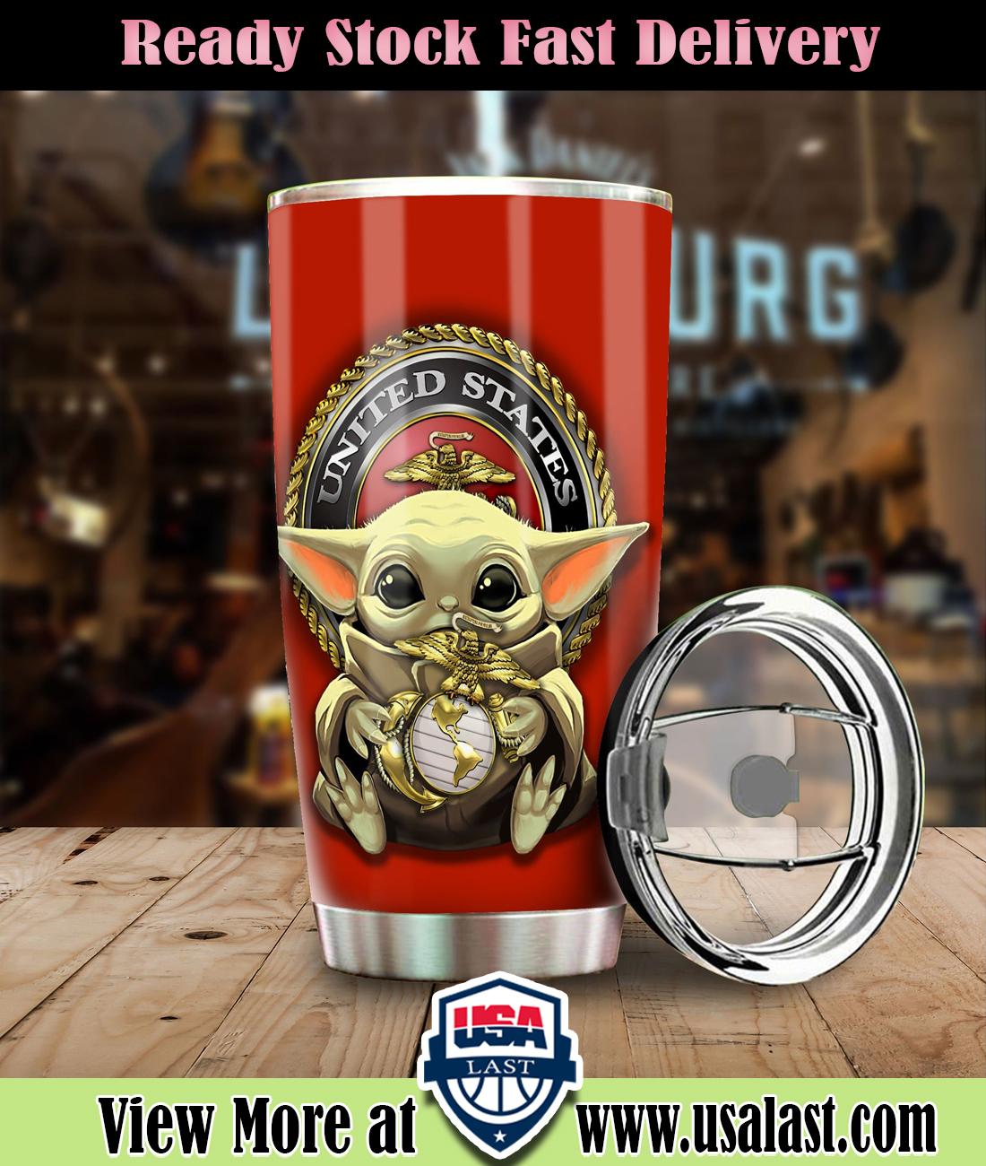 Baby Yoda US Marines Corp Steel Tumbler