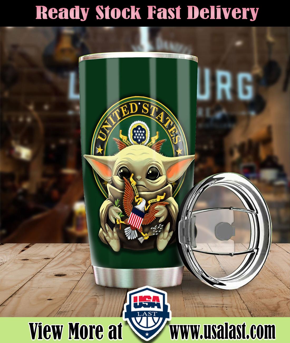 Baby Yoda US Army Steel Tumbler