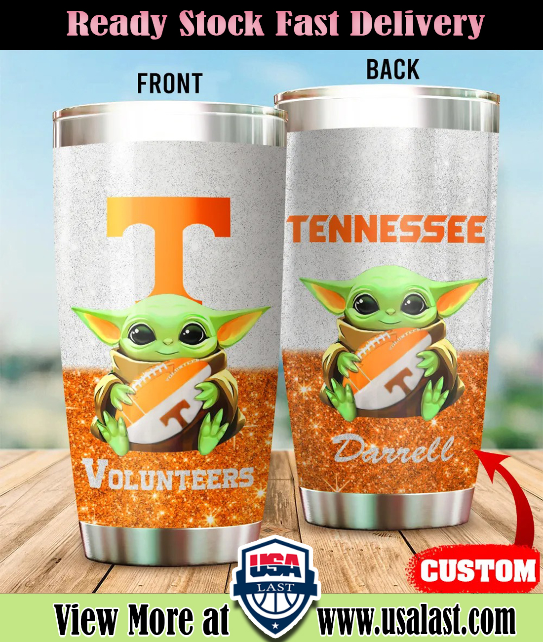 Baby Yoda Tennessee Volunteers Custom Name Tumbler