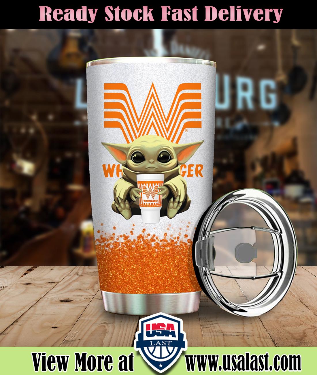 Baby Yoda Holding Whataburger Steel Tumbler