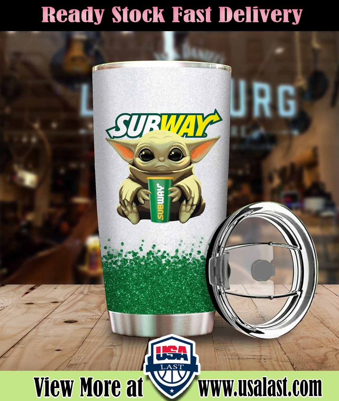 Baby Yoda Holding Subway Cup Steel Tumbler