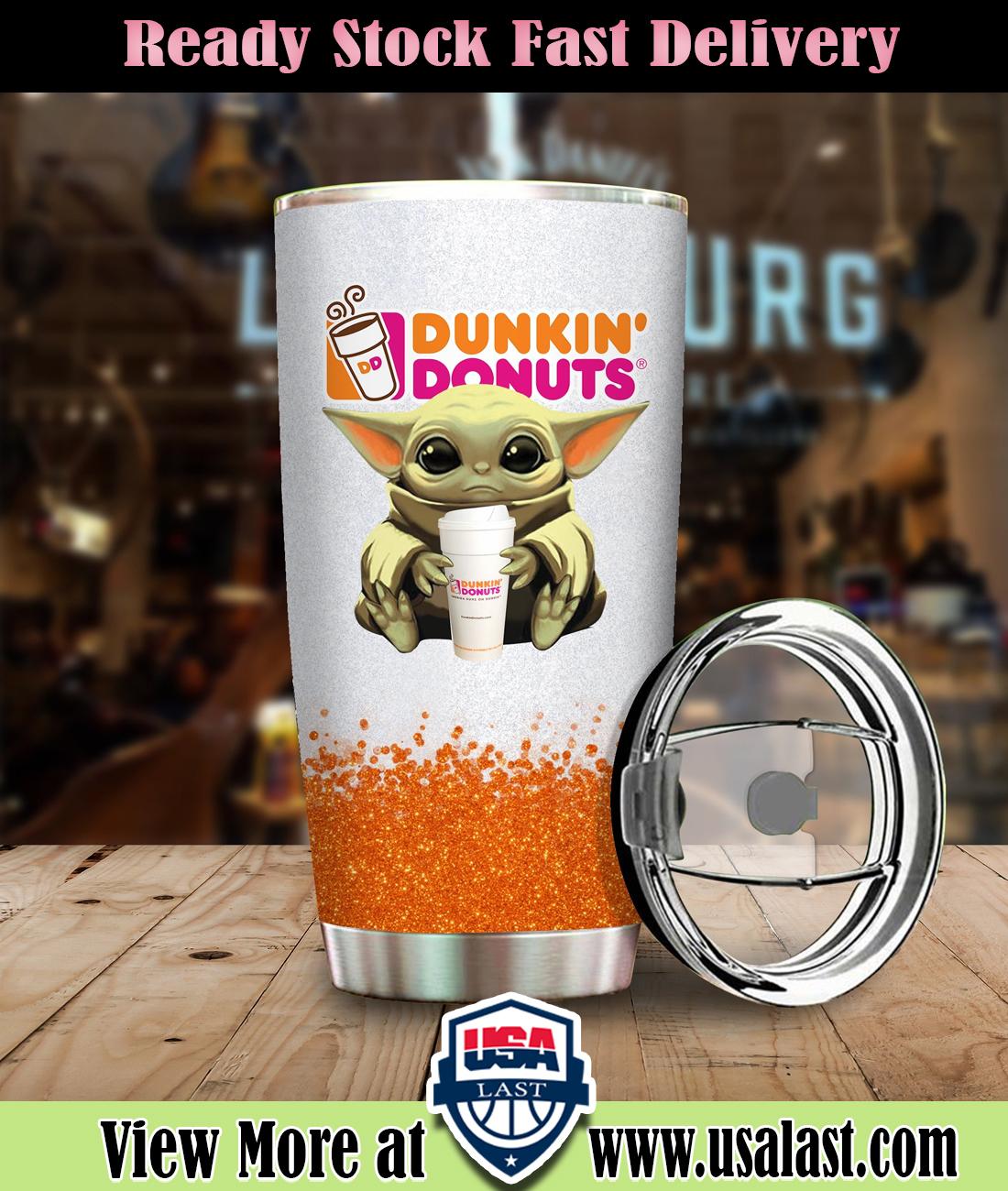 Baby Yoda Holding Dunkin' Donuts Steel Tumbler