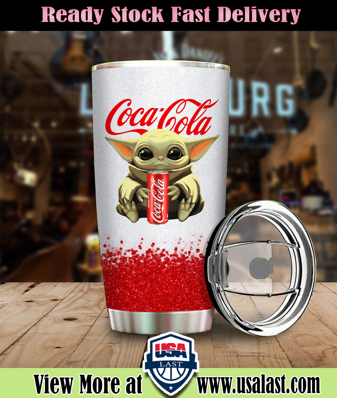 Baby Yoda Holding Coca-Cola Steel Tumbler