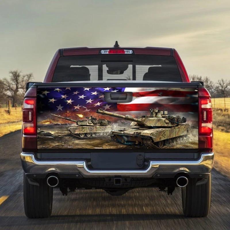 Tank American Truck Tailgate Vinyl Graphic Decal Sticker Wrap