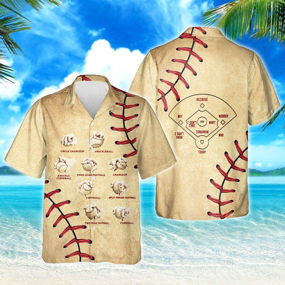 Baseball pitching grips short sleeve hawaiian shirt