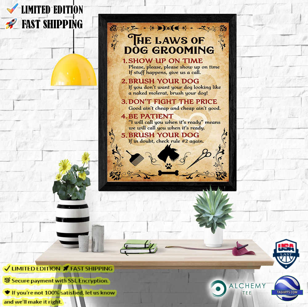 The laws of dog grooming poster gift for groomer