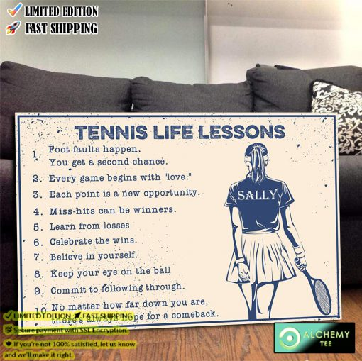 Tennis life lessons custom name poster canvas