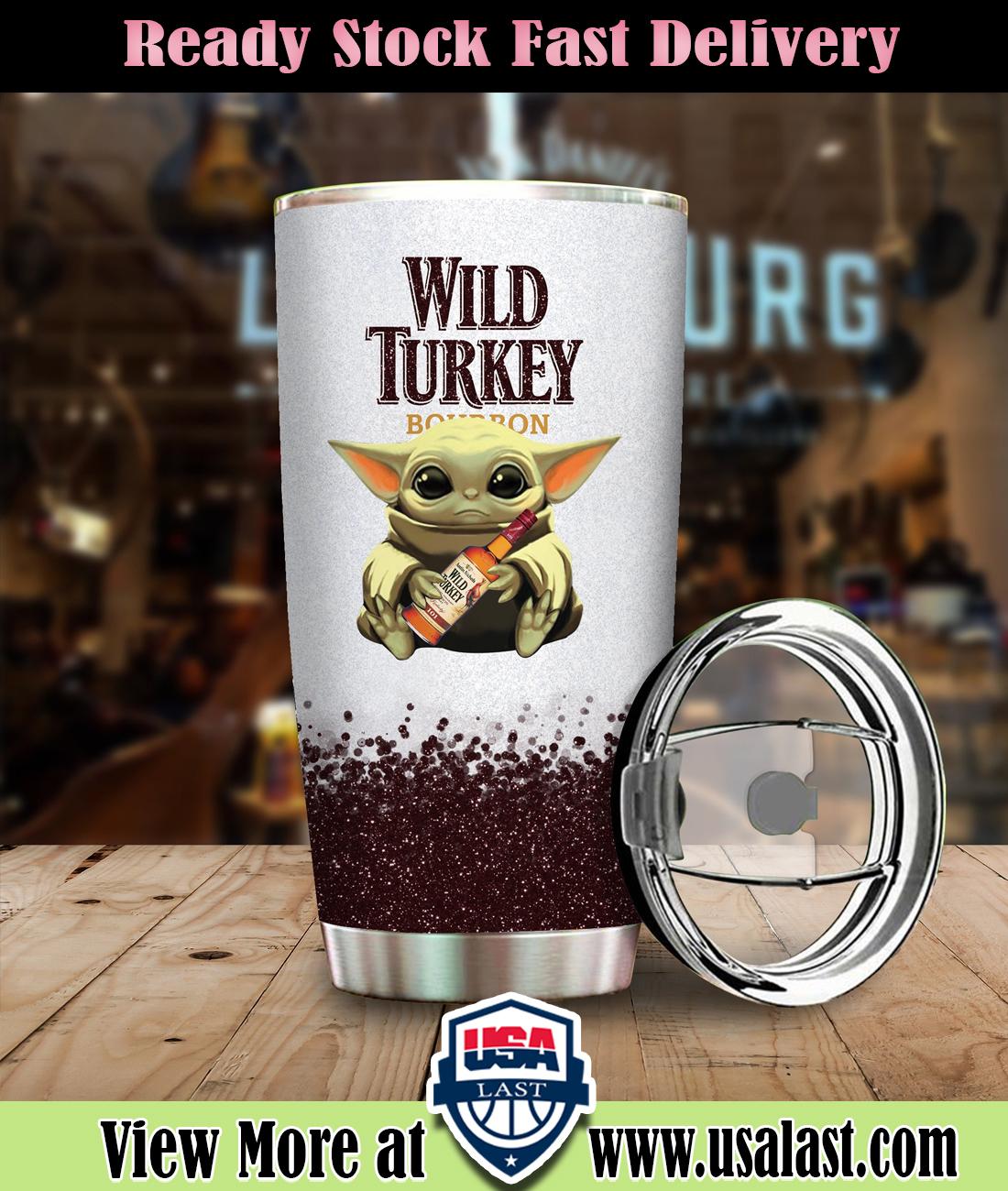 Baby Yoda Hold Wild Turkey Wine Bottle Steel Tumbler