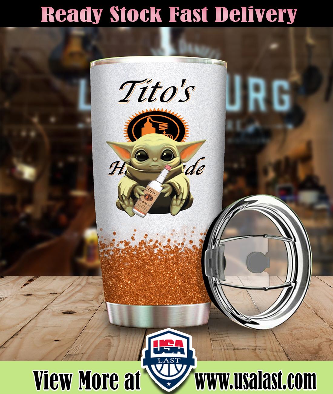 Baby Yoda Hold Tito'S Handmade Vodka Steel Tumbler
