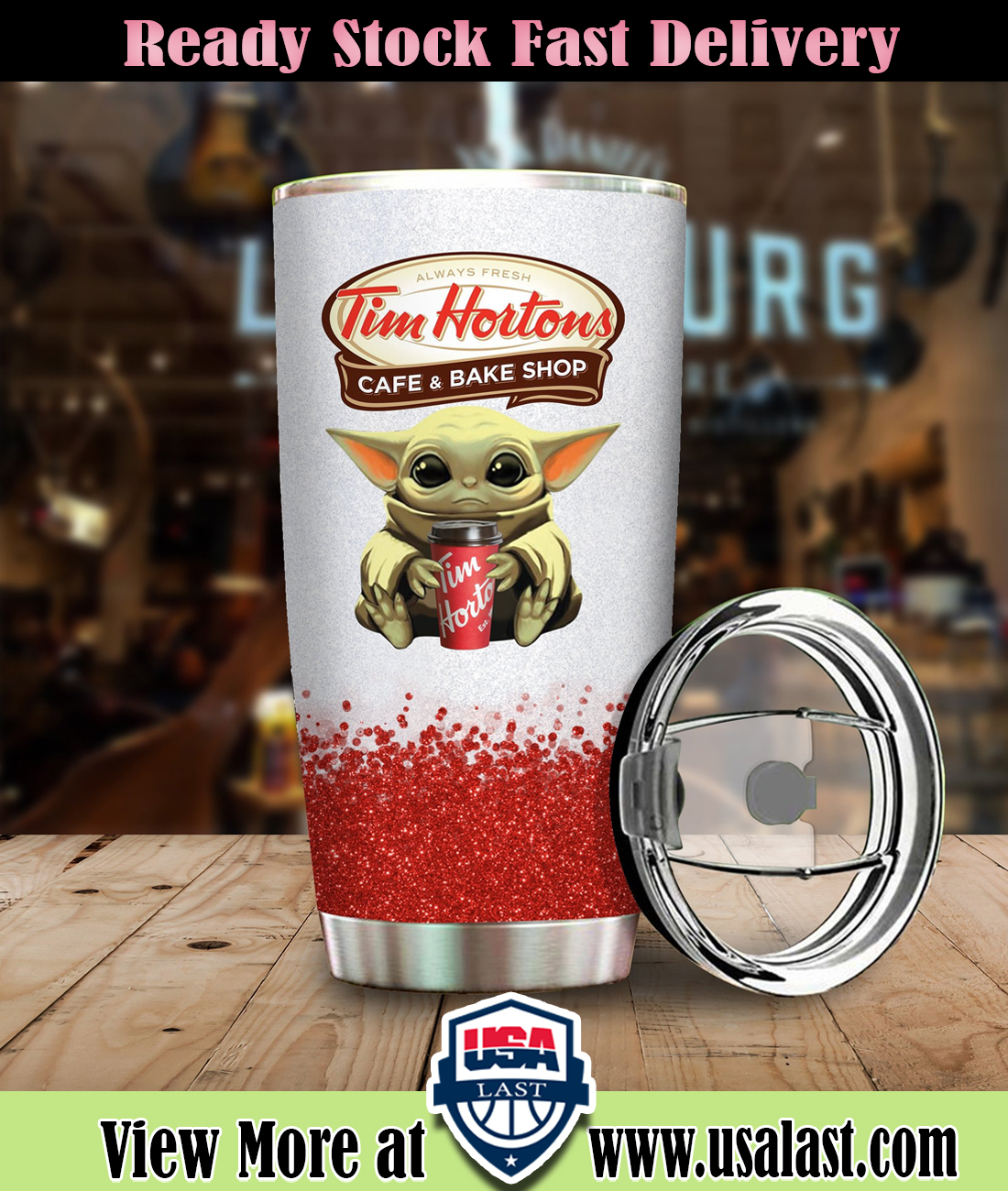 Baby Yoda Hold Tim Hortons Steel Tumbler