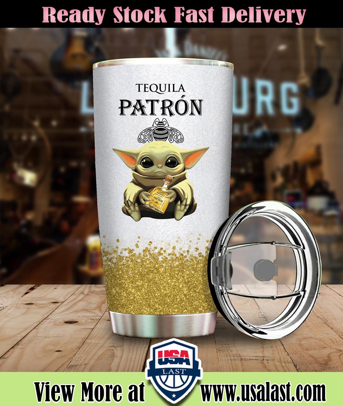 Baby Yoda Hold Tequila Patron Wine Bottle Steel Tumbler