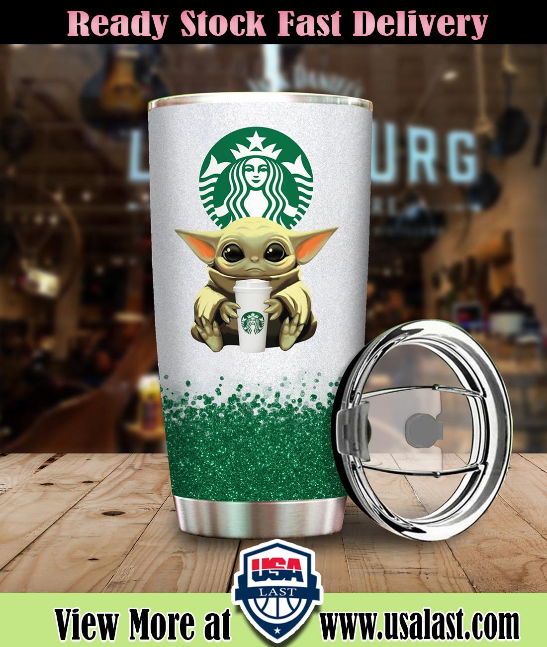 Baby Yoda Hold Starbucks Coffee Steel Tumbler