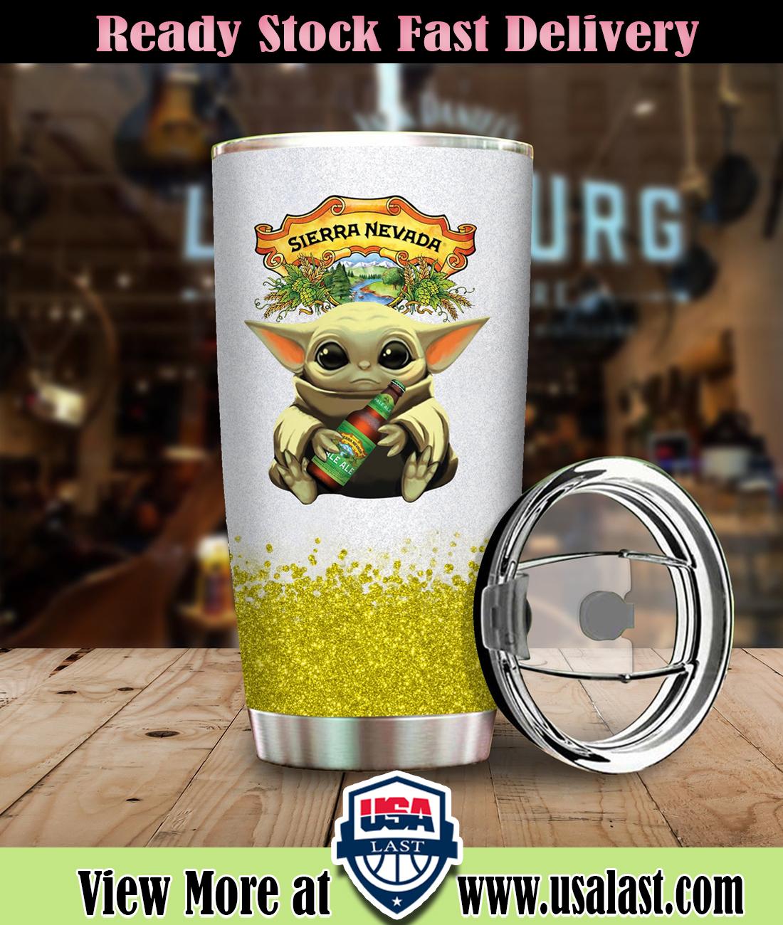 Baby Yoda Hold Sierra Nevada Steel Tumbler