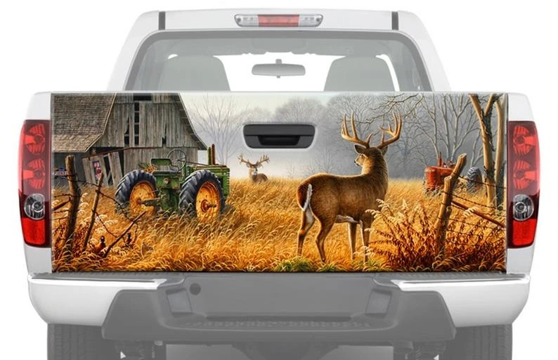 Deer At The Farm Truck Tailgate Vinyl Graphic Decal Sticker Wrap