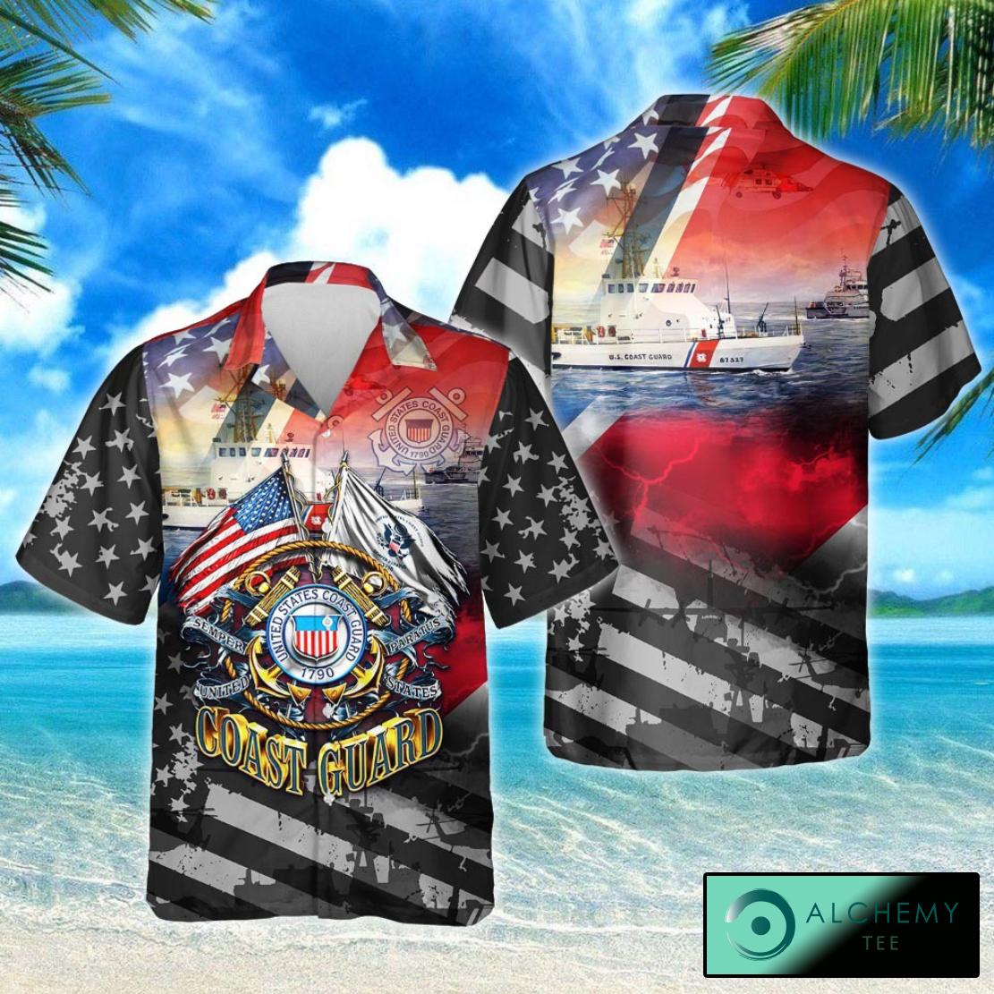 Proudly served U.S Coast Guard short sleeve hawaiian shirt