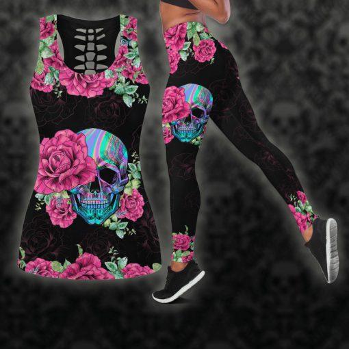 Skull pink on black legging and hoodie