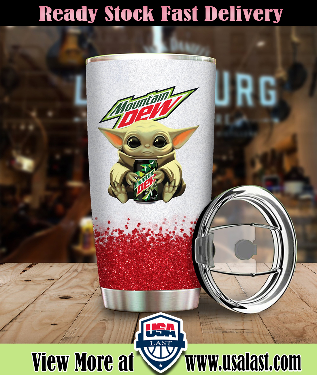 Baby Yoda Hold Moutain Dew Steel Tumbler