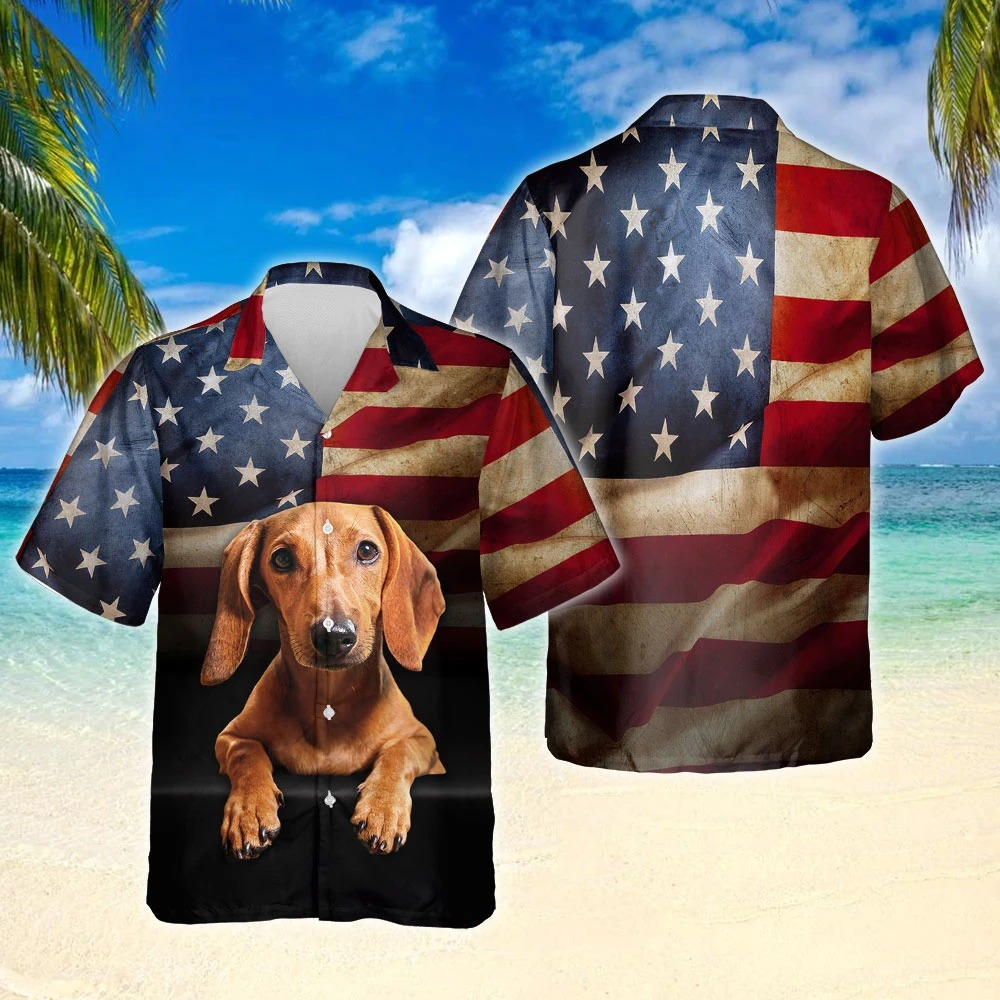 Dachshund american flag short sleeve hawaiian shirt