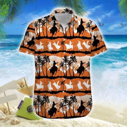 Team Roping Sunset Hawaiian Shirt And Short