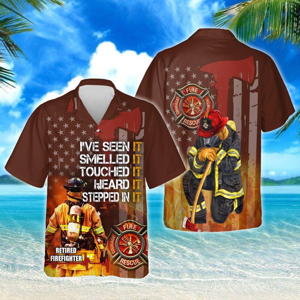 Proud retired firefighter short sleeve hawaiian shirt