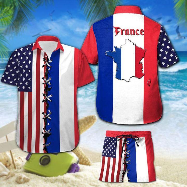America And France Flag Hawaiian Shirt And Short